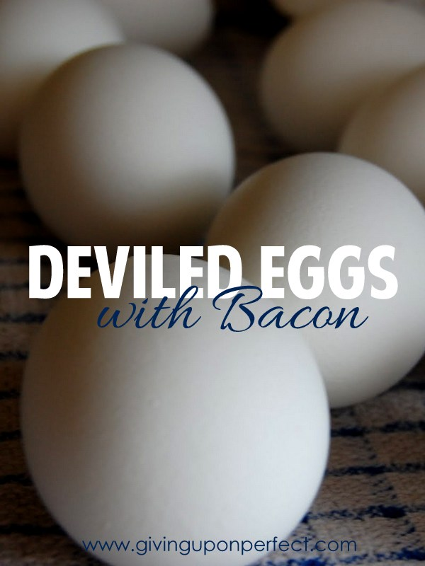 Deviled Eggs with Bacon | via www.givinguponperfect.com