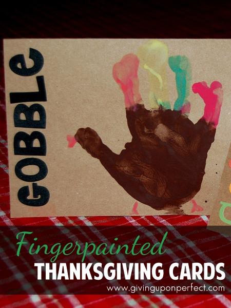Fingerpainted Turkey Thanksgiving Cards