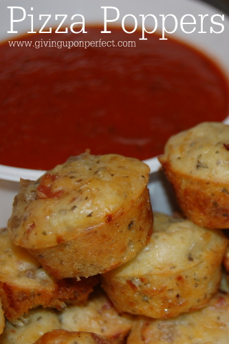 Recipe for Pizza Poppers - spicy, savory appetizer perfect for game day or a party!